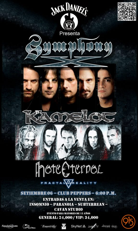 Symphony X - Kamelot - Hate Eternal - Fractal Reality (06 de setiembre)
